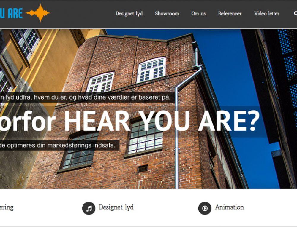 Visuel og auditivt design for HEAR YOU ARE